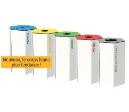 Corbeille de tri sélectif TERAHEX 50L - BLANC